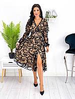 Женское нарядное платье на запах с широким поясом, выполнено из сетки с напылением флок на подкладке plus size, фото 1