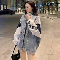 Женская джинсовая куртка с рукавами ветровки