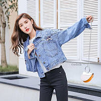 Женская джинсовая куртка стрекоза