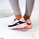 Жіночі кросівки білі з сірими/ рожевим/ чорним еко-шкіра+ гума, фото 3