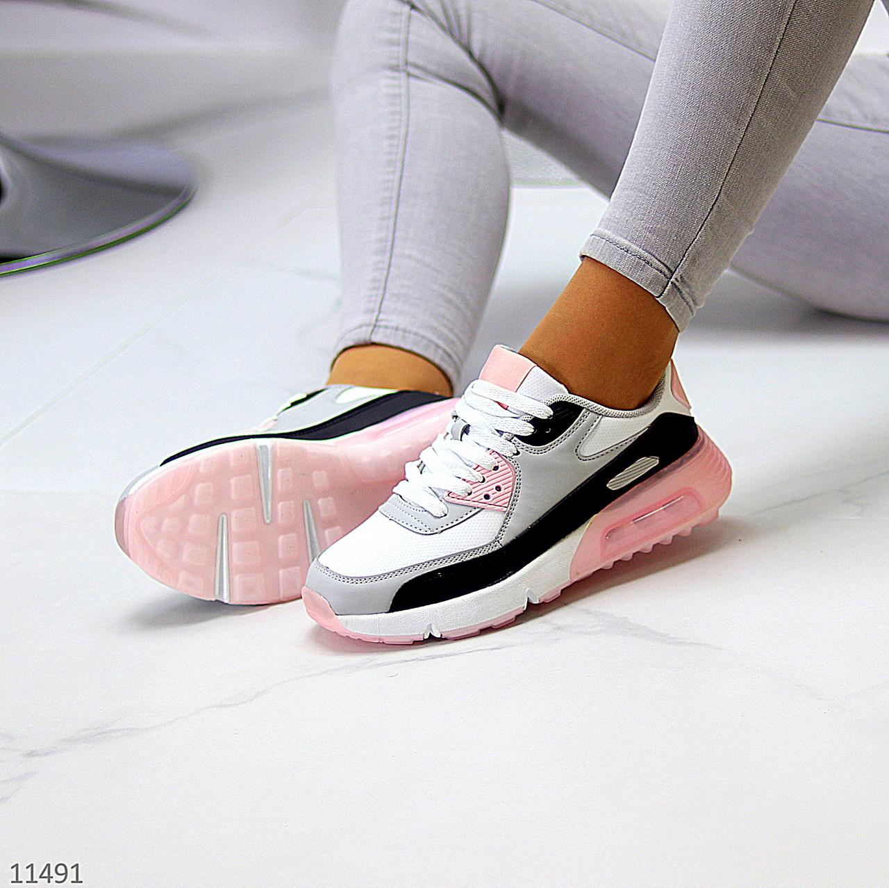 Жіночі кросівки білі з сірими/ рожевим/ чорним еко-шкіра+ гума