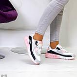 Жіночі кросівки білі з сірими/ рожевим/ чорним еко-шкіра+ гума, фото 5