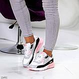 Жіночі кросівки білі з сірими/ рожевим/ чорним еко-шкіра+ гума, фото 6