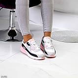 Жіночі кросівки білі з сірими/ рожевим/ чорним еко-шкіра+ гума, фото 7