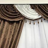 Комплект готовых жаккардовых штор с ламбрекеном в гостиную Шторы 150х270 см ( 2шт ) Цвет - Коричневый, фото 4