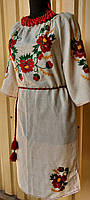 Сукня натуральний льон, ручна вишивка 020 Класика ОГ 102 см