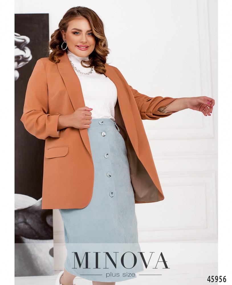 Женский элегантный пиджак из костюмной ткани кирпичного цвета Размеры 52-54,56-58,60-62