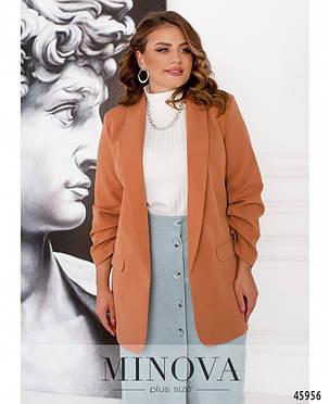 Женский элегантный пиджак из костюмной ткани кирпичного цвета Размеры 52-54,56-58,60-62, фото 2