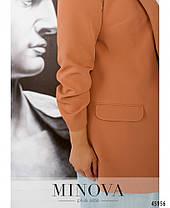 Женский элегантный пиджак из костюмной ткани кирпичного цвета Размеры 52-54,56-58,60-62, фото 3