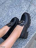 Туфлі -броги / лофери жіночі чорні еко шкіра на тракторній підошві, фото 3