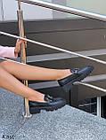 Туфлі -броги / лофери жіночі чорні еко шкіра на тракторній підошві, фото 4