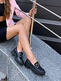 Туфлі -броги / лофери жіночі чорні еко шкіра на тракторній підошві, фото 7