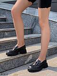 Туфлі -броги / лофери жіночі чорні еко шкіра на тракторній підошві, фото 5