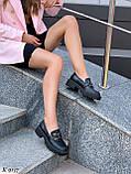 Туфлі -броги / лофери жіночі чорні еко шкіра на тракторній підошві, фото 6