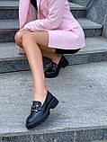Туфлі -броги / лофери жіночі чорні еко шкіра на тракторній підошві, фото 8