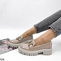 Женские натуральные туфли-лоферы с цепью, фото 1