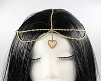 Золота Тика на голову Східне прикраса Серце перлина №79