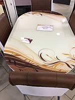"""Розкладний обідній кухонний комплект овальний стіл і стільці """"Коричневий завиток"""" ДСП гартоване скло 75*130 Лотос-М"""