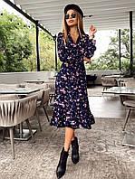 Красиве міді плаття на запах з квітами, фото 1