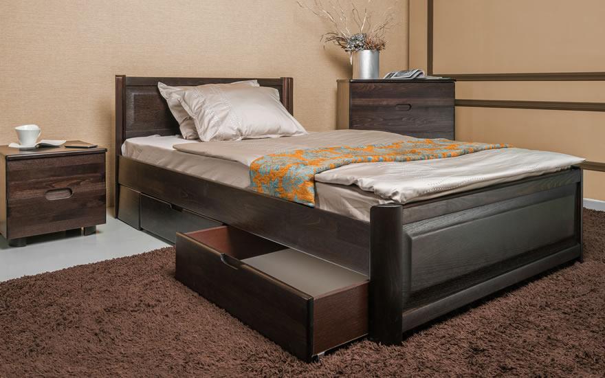 Дерев'яне ліжко з бука Олімп Марго фільонка з ізножьем з ящиками