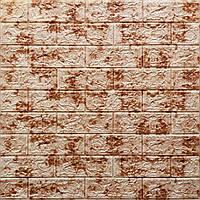 Декоративная 3Д-панель стеновая кирпич Красный Мрамор (самоклеющиеся 3d панели для стен оригинал) 700x770x5 мм