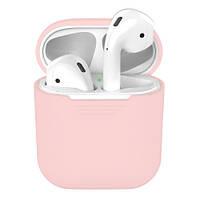 Силиконовые чехлы для Airpods 1, 2. Чехол для наушников Apple AirPods 1/2 кейс для Эпл Аирподс силиконовый. розовый