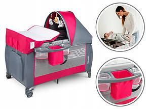 Дитяче ліжечко-манеж Lionelo SVEN PLUS PINK ROSE, фото 3