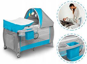 Дитяче ліжечко-манеж Lionelo SVEN SKY BLUE, фото 2
