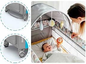 Дитяче ліжечко-манеж Lionelo SVEN SKY BLUE, фото 3