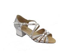 Бально-спортивне взуття для дівчаток, срібло+парча