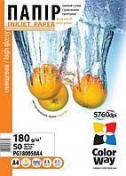 Фотобумага ColorWay глянцевая 180г/м, A4 PG180-50
