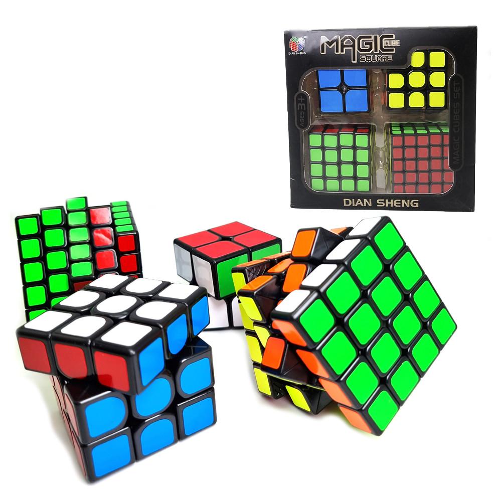 Набор кубиков рубика в коробке из 4 штук подарочный набор Кубик рубик головоломка игрушка