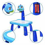 Дитячий стіл проектор музичний з підсвічуванням для малювання і фломастерами Projector Painting блакитний, фото 5