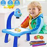 Дитячий стіл проектор музичний з підсвічуванням для малювання і фломастерами Projector Painting блакитний, фото 4