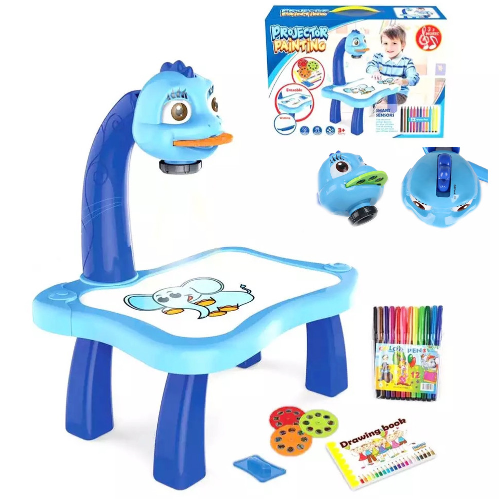 Дитячий стіл проектор музичний з підсвічуванням для малювання і фломастерами Projector Painting блакитний