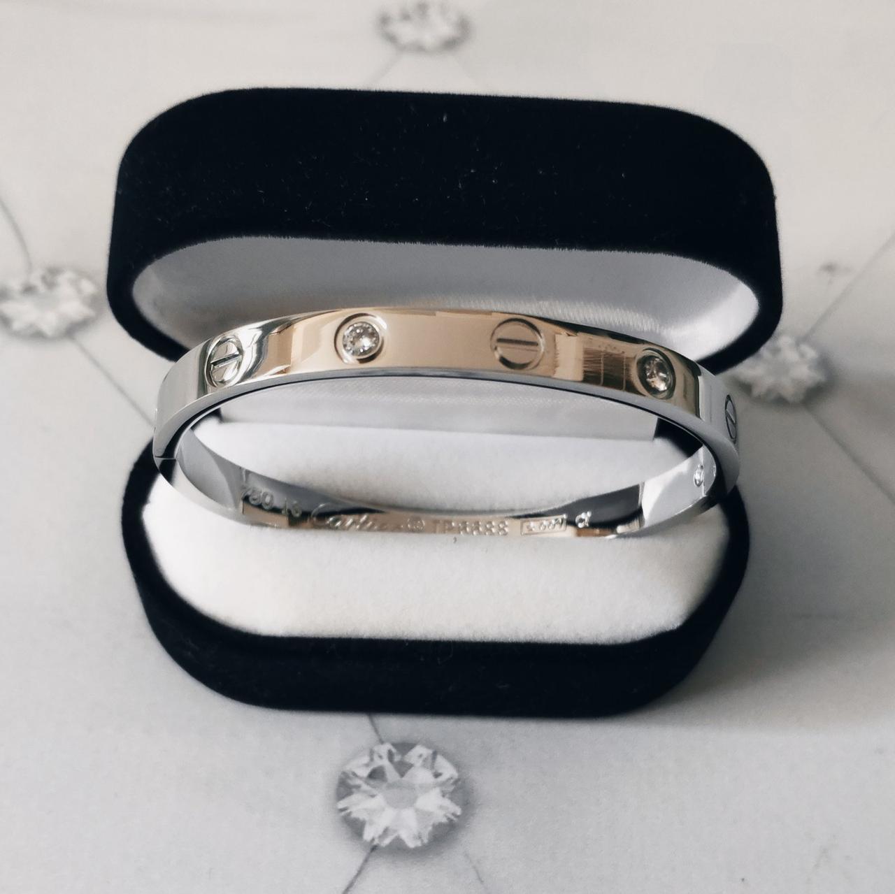 Браслет Кар тьє C artier Love 16S, 4 каменю, Біле Золото