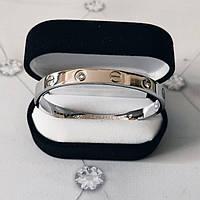 Браслет Кар тье C  artier Love 16S, 4 камня, Белое Золото
