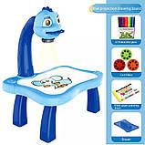 Дитячий стіл проектор музичний з підсвічуванням для малювання і фломастерами Projector Painting блакитний, фото 7