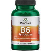 Вітамін В6 Піридоксин, Swanson, 100 мг, 250 капсул