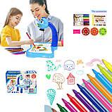 Дитячий стіл проектор музичний з підсвічуванням для малювання і фломастерами Projector Painting блакитний, фото 9