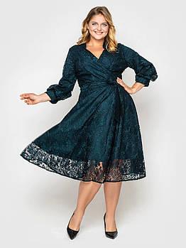 / Размер 50, 52, 54, 56, 58 / Женское нарядное платье Рина изумруд