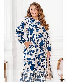 Легкое цветочное платье из мягкого софта с длинным рукавом большой размер 46-48 50-52 54-56 58-60 62-64 66-68
