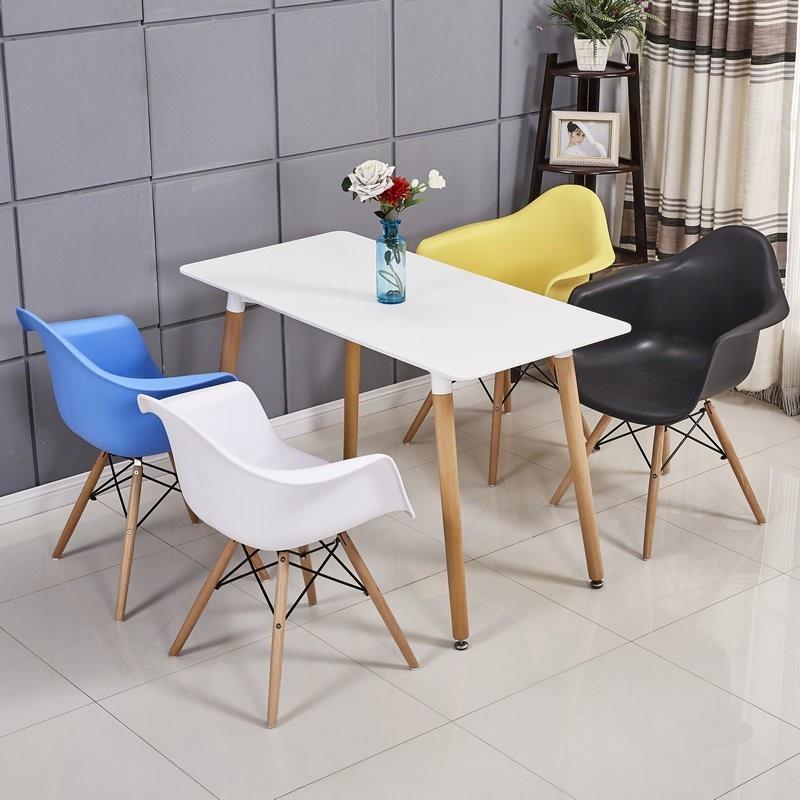 Комплект кухонний Стіл обідній Нурі SDM прямокутний 120х80 см, білий + 4 Різнокольорових крісла Тауер Вуд