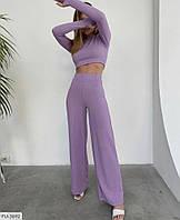 Костюм жіночий брючний в рубчик облягаючий топ і брюки кльош із завищеною талією р-ры42-48 арт.152, фото 1