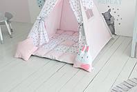 Детская палатка-вигвам розовая 125х125х170 см, фото 5