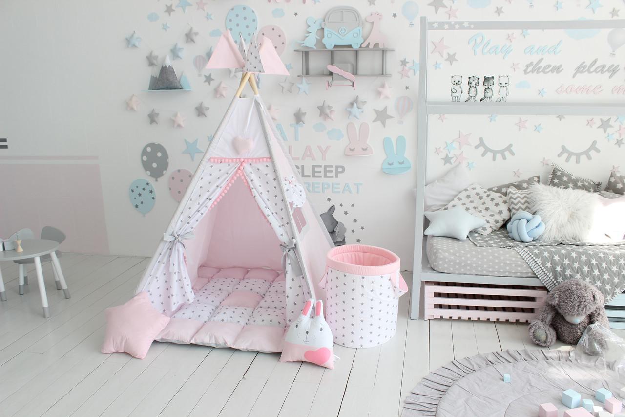 Детская палатка-вигвам розовая 125х125х170 см