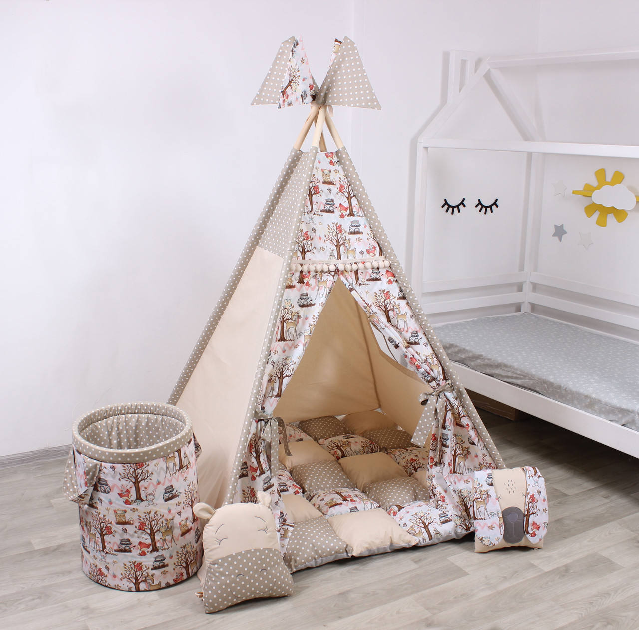 Детская палатка-вигвам с ковриком Индейци в лесу  125х125х170 см
