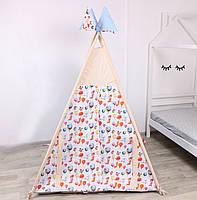 Дитячий намет-вігвам з килимком Сірі Зірки 125х125х170 см, фото 3