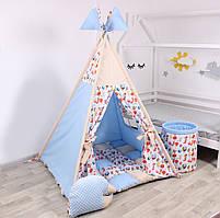 Дитячий намет-вігвам з килимком Сірі Зірки 125х125х170 см, фото 4