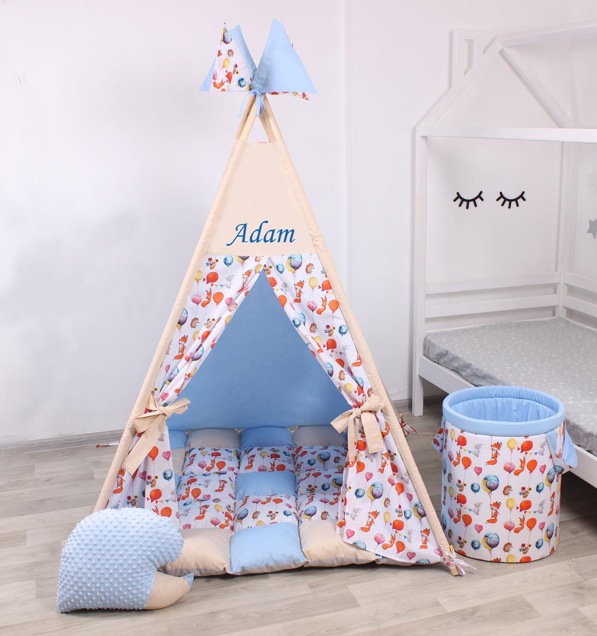 Детская палатка-вигвам с ковриком Воздушные шары  125х125х170 см